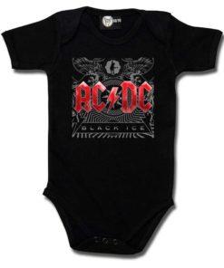Body Rock pour bébé à l'effigie du groupe AC/DC. Le body est noir avec le logo rouge.