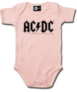 Body bébé de couleur rose avec le logo AC/DC noir