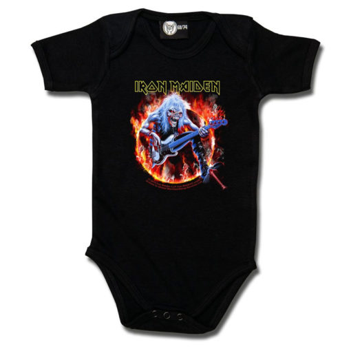 Body bébé Iron Maiden noir avec flammes