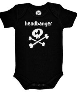Body rock Headbanger pour bébé avec tête de mort (noir)