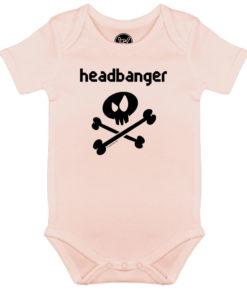 Body rock Headbanger pour bébé avec tête de mort (rose)
