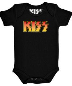 Body KISS pour bébé (noir avec logo du groupe Kiss jaune orangé)