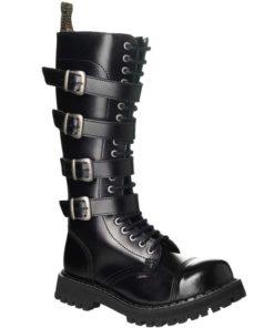 Chaussures montantes coquées noires 4 sangles
