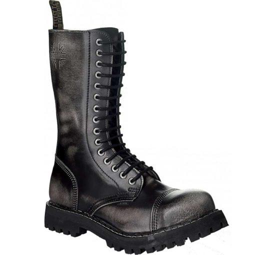 Chaussures coquées blanches noires 15 trous