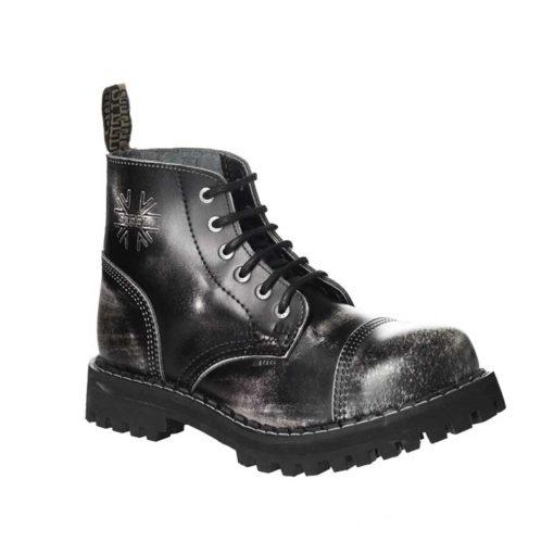 Chaussures coquées blanches noires 6 trous