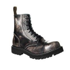 Chaussures coquées blanches noires 8 trous