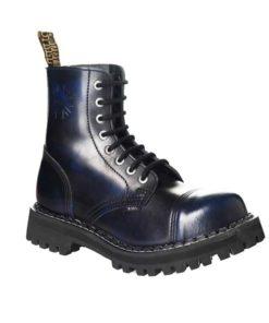 Chaussures coquées bleues noires 8 trous