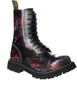 Chaussures coquées foncées Drapeaux Anglais 10 trous