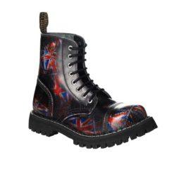 Chaussures coquées british flag noires 8 trous