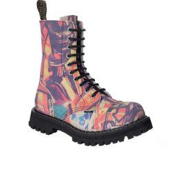Chaussures coquées violettes et roses, 10 trous