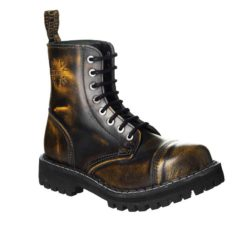 Chaussures coquées jaunes noires 8 trous