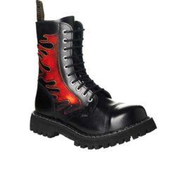 Chaussures coquées noires et flammes 10 trous