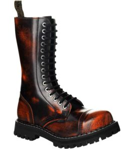 Chaussures coquées oranges noires 15 trous