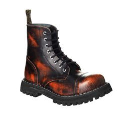 Chaussures coquées oranges noires 8 trous