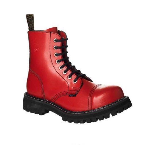 Chaussures montantes coquées rouges 8 trous