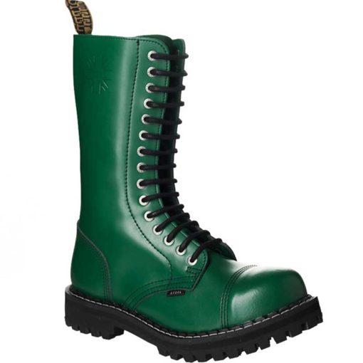Chaussures coquées vertes 15 trous