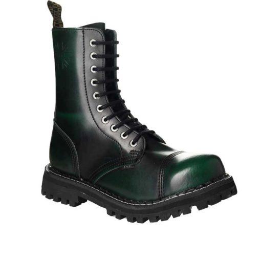 Chaussures coquées vertes noires 10 trous