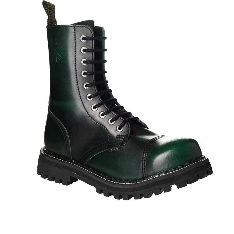 e57a917be Chaussures coquées vertes noires 10 trous