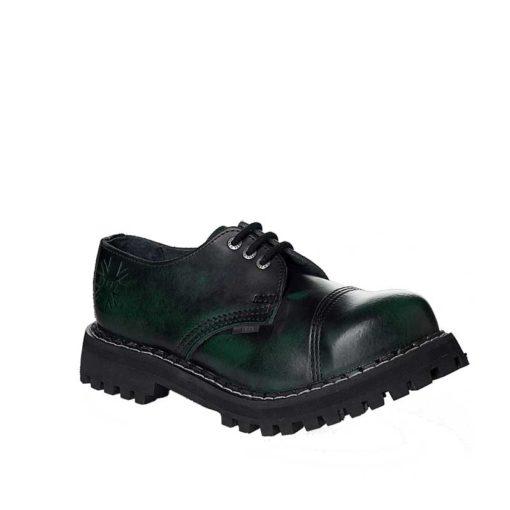 Chaussures coquées vertes noires 3 trous