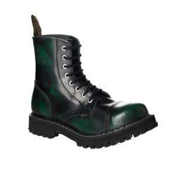 Chaussures coquées vertes noires 8 trous