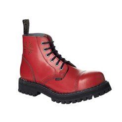 Chaussures coquées de couleur rouge 6 trous