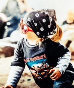 T-shirt bébé manches longues Iron Maiden (noir et gris)
