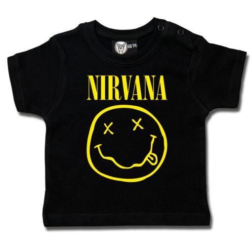T-shirt Nirvana pour bébé (noir avec logo jaune du groupe)