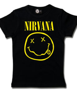 T-shirt Nirvana fille (noir avec le logo smiley jaune)