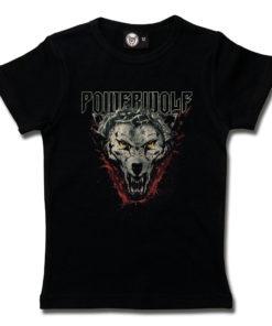 T-shirt Powerwolf pour fille (noir) avec une tête de loup