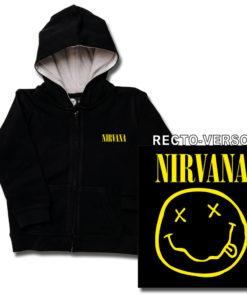 Veste enfant Nirvana noire avec le smiley jaune. Impression recto-verso.
