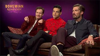 De gauche à droite : Joseph Mazzello, Rami Malek et Gwilym Lee durant la promotion du film en 2018.