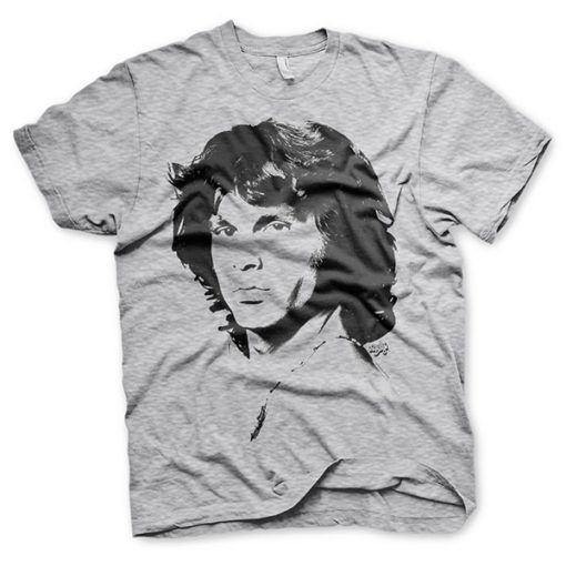 T-shirt gris avec le portrait de Jim Morrison, cofondateur du groupe de rock The Doors