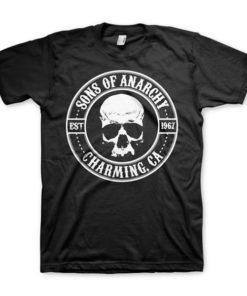 T-shirt Sons of Anarchy noir avec un crane et la mention Sons of Anarchy, Charming CA