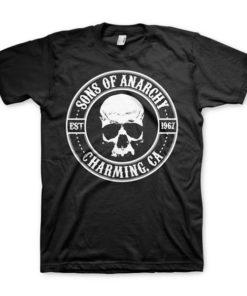 T-shirt Sons of Anarchy noir avec un crane et la mention Sons of Anarchy, Charming CA