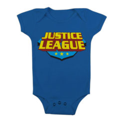 Body Bébé Justice League Classic Logo de couleur Bleu