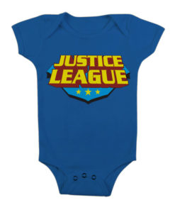 Body Bébé Justice League Classic Logo de couleur Bleu