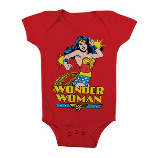 Body Bébé Wonder Woman de couleur Rouge