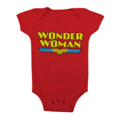 Body Bébé Wonder Woman Logo de couleur Rouge