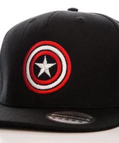 Casquette Captain America avec le bouclier étoilé (noire, rouge et blanche)