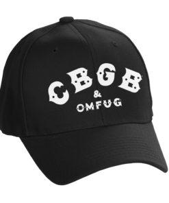 Casquette de baseball CBGB & OMFUG Logo FlexFit (type baseball) de couleur noire et blanche