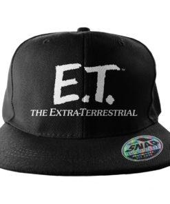 Casquette ET l'Extra-terrestre noire et blanche à visière plate
