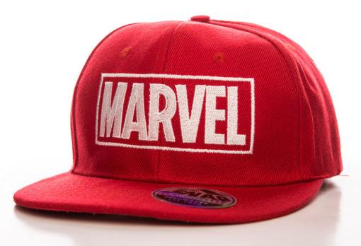 Casquette avec logo Marvel de couleur rouge à visière plate