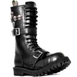 Chaussures coquées noires avec crânes en métal 15 trous