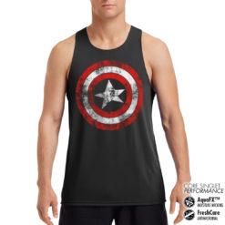 Débardeur de sport Captain America Shield Performance Singlet pour homme de couleur Noir