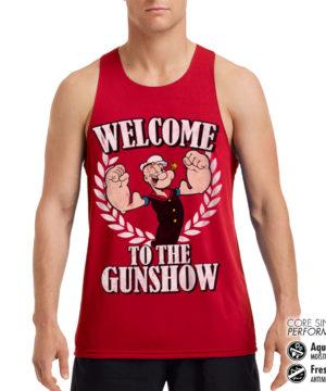 Débardeur de sport Popeye - Welcome To The Gunshow Performance Singlet pour homme de couleur Rouge