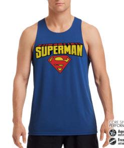 Débardeur de sport Superman Blockletter Logo Performance Singlet pour homme de couleur Bleu