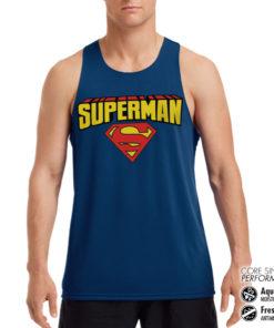 Débardeur de sport Superman Blockletter Logo Performance Singlet pour homme de couleur Bleu Nuit