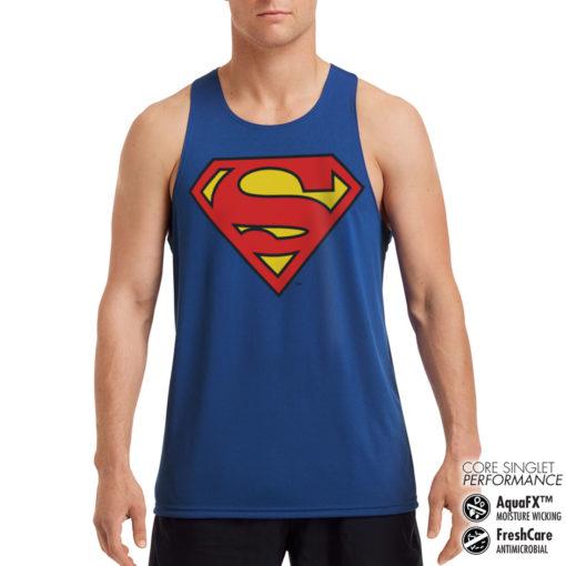 Débardeur de sport Superman Shield Performance Singlet pour homme de couleur Bleu