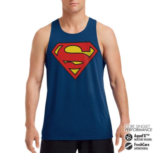 Débardeur de sport Superman Shield Performance Singlet pour homme de couleur Bleu Nuit