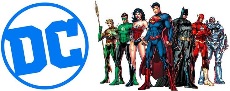 DC Comics avec les personnages Superman, Batman, Wonder Woman, Flash...